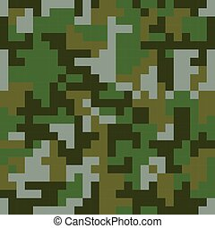 Pixel camo seamless pattern. Green forest camouflage. Vector...