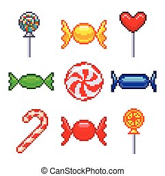 Pixel candies for games icons vector set