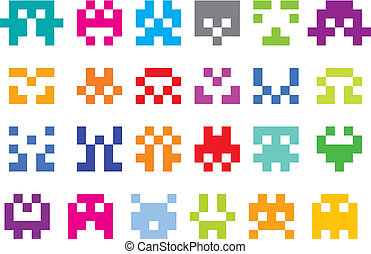 pixel characters - space invaders, set of pixel game icons,...