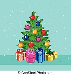 Pixel Christmas tree. - Pixel Christmas tree with gifts