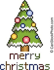 Pixel christmas tree with ornaments