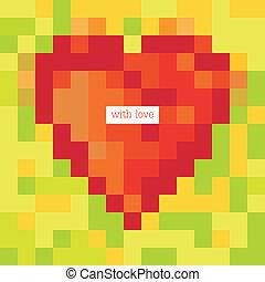 pixel, coeur, à, greetings., conception, gabarit, vecteur, eps8