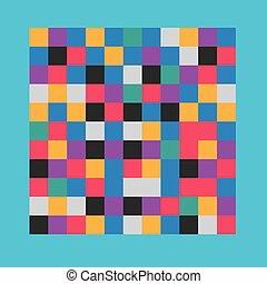 pixel, colorido, patrón, censura, -, ilustración, vector