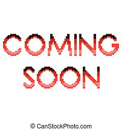Pixel coming soon text detailed illustration isolated vector
