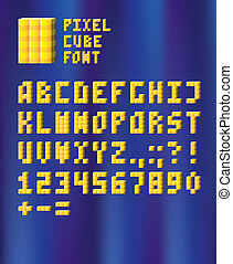 Pixel cube font - 3D pixel font with shiny yellow cubes