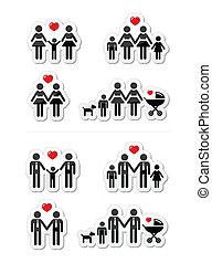 pixel, curseur, icônes, -, pouce haut, aimer