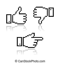 Pixel cursor icons - thumb up, like