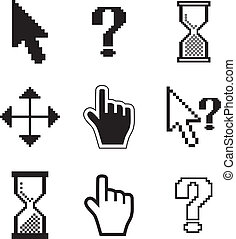 Pixel cursors icons-arrow, hourglass, hand mouse. Vector ...