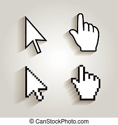 Pixel cursors icons mouse hand arrow. Vector Illstration