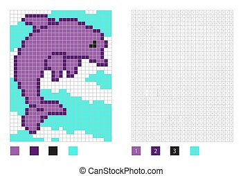 Pixel dolphin cartoon in the coloring page with numbered squares