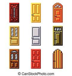 Pixel doors for games icons vector set
