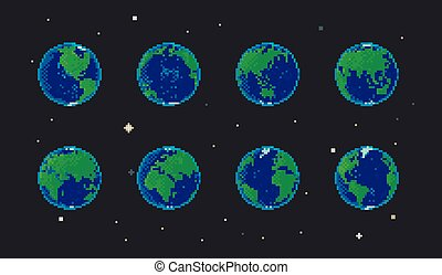 Pixel earth set rotation animation. Isolated globe