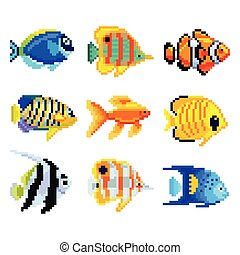 Pixel exotic fish for games icons vector set - Pixel exotic...