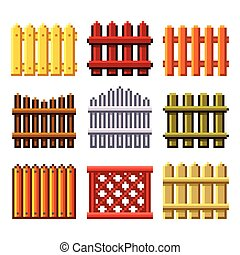Pixel fences for games icons vector set