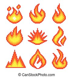 Pixel fire for games icons vector set