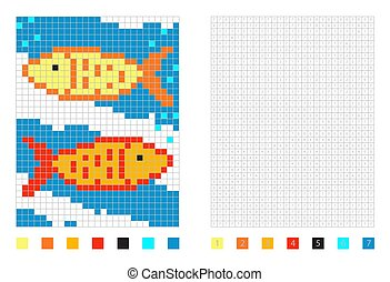Pixel fish cartoon in the coloring page with numbered squares