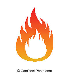 Pixel flame fire. Isolated on white