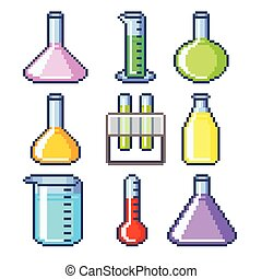 Pixel flasks and test tubes icons vector set