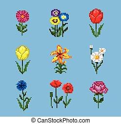 Pixel Flower Icons Set
