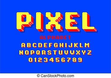 Pixel font, 3d retro video game style alphabet