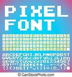 Pixel font - Vector Vintage Pixel Font Set. Retro style...