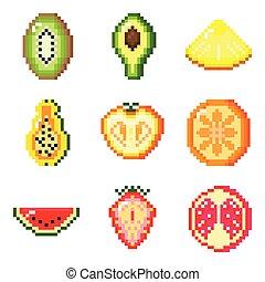 pixel, fruit, ensemble, jeux, utilisé