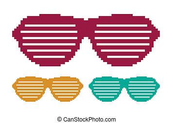 pixel, gafas sol, conjunto