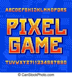 Pixel Game alphabet font. Digital gradient letters and numbers on pixelated background. 80s retro arcade video game typeface.