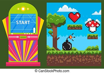 Pixel Game and Colorful Gambling Machine Vector - Game...