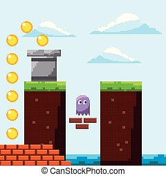 pixel game arcade scene ghost gold coins prize