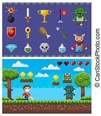 Pixel Game Elements and Icons, Landscape with Hero