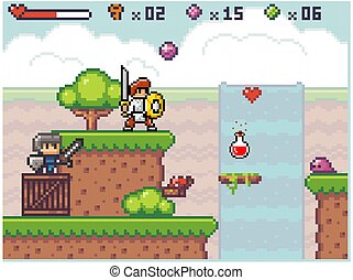 Pixel game interface. Knight wear armor is holding sword in his hands. Heroes go to the goal