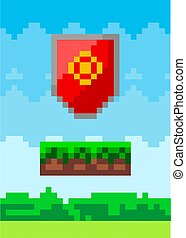 Pixel art design of red shield icon. Abstract baffle pixelated object to protect the warrior in pixel style in nature landscape background. Game element weapon pixel art old computer grafic style