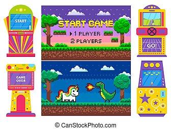 Pixel Game Set, Duel of Heroes, Machine Vector