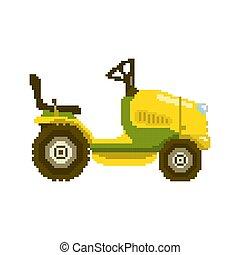 Pixel garden tractor vector illustration