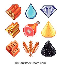 Pixel gems for games icons vector s