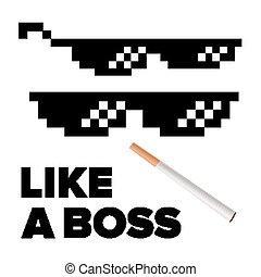 Pixel Glasses Vector. Like A Boss. Thug Lifestyle. For Meme...