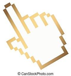 pixel, gráfico, mano, -, índice, oro