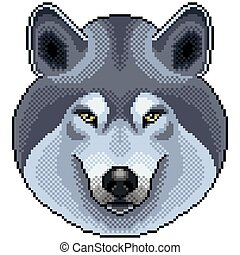 Pixel grey wolf portrait detailed isolated vector