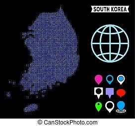 Pixel Halftone South Korea Map