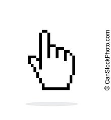 Pixel hand cursor icon on white background. Vector illustration.