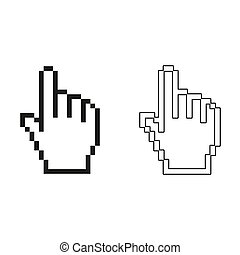 pixel hand - green vector icon