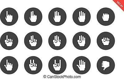 Pixel hands icons on white background