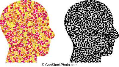 Pixel Head Profile Mosaic Icons