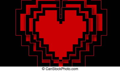 Pixel heart beating on black background