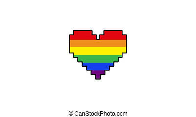 pixel heart Gay heart or LGBT. Rainbow Pride heart beat animation. colorful video footage, 4K