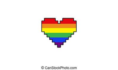 pixel heart Gay heart or LGBT. Rainbow Pride heart beat ...