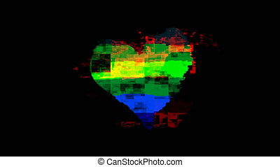 pixel heart Gay heart or LGBT. Rainbow Pride symbol on glitch old screen display animation. Retro, colorful video footage, 4K