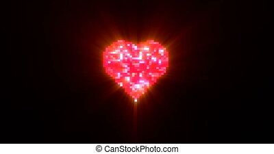 Pixel heart on digital tv screen seamless