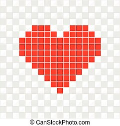 Red Heart Pixel Art Style Vector Illustration